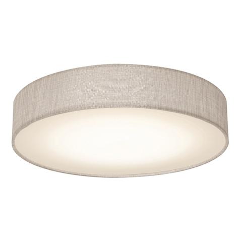 Ashland 12-inch White LED Flush Mount, Grey Fabric Shade