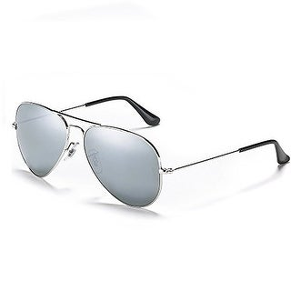 Classic Aviator Style Silver Mirrored Sunglasses