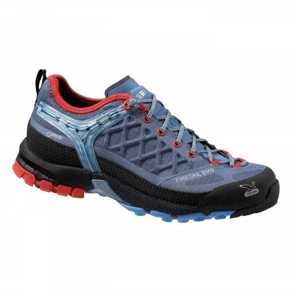 Salewa Firetail EVO GTX Hiking Shoes, Womens, Waterproof Gortex, Sizes 6-10 - blue jeans/poppy red