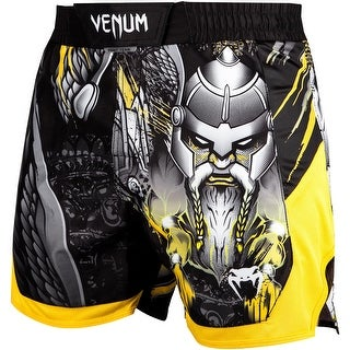 Venum Viking 2.0 Mid-Thigh Speed Grip Closure MMA Fight Shorts - Black/Yellow