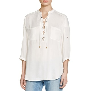 Guess Womens Aubree Blouse Sateen Lace-up - s
