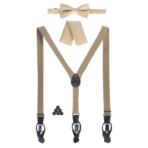 Gioberti Boys Khaki Convertible Suspenders Bow Tie Buttons and Hanky Set