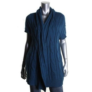 DKNY Womens Cable Knit Open Front Cardigan Sweater - m/l