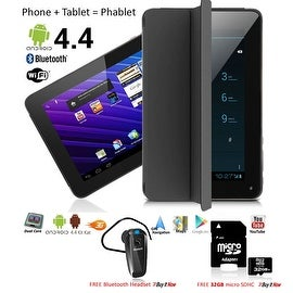 Indigi® 7inch Factory Unlocked 2-in-1 Android 4.4 Smartphone + TabletPC w/ Built-in Smart Cover + Bundle Included(Black)