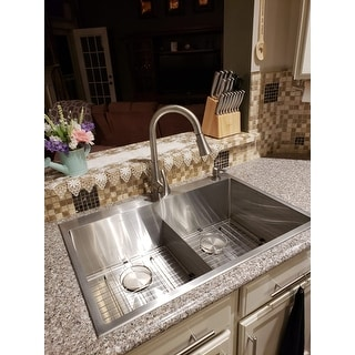 Kraus KHT302-33 Drop-In Topmount 33 in. 16G 50/50 2-Bowl Stainless Steel Kitchen Sink, 2H, Grids, Strainers, Caps, Towel