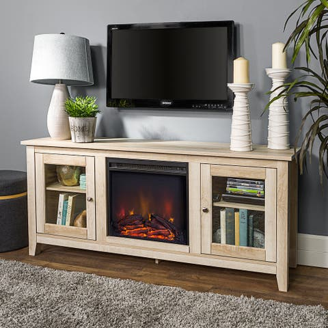58-inch White Oak 2-Door Fireplace TV Stand Console
