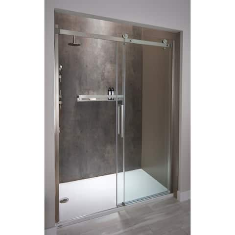 "Jacuzzi SX48 79"" High x 48"" Wide Sliding Semi-Frameless Shower Door with Clear Glass"