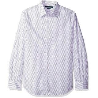Perry Ellis NEW White Mens Size Large L Sport Geometric Square Shirt