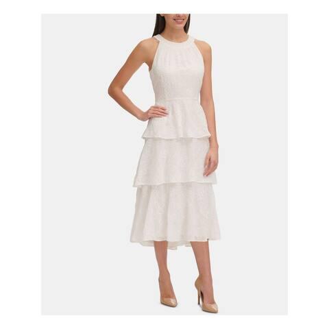 TOMMY HILFIGER White Sleeveless Midi Dress 6