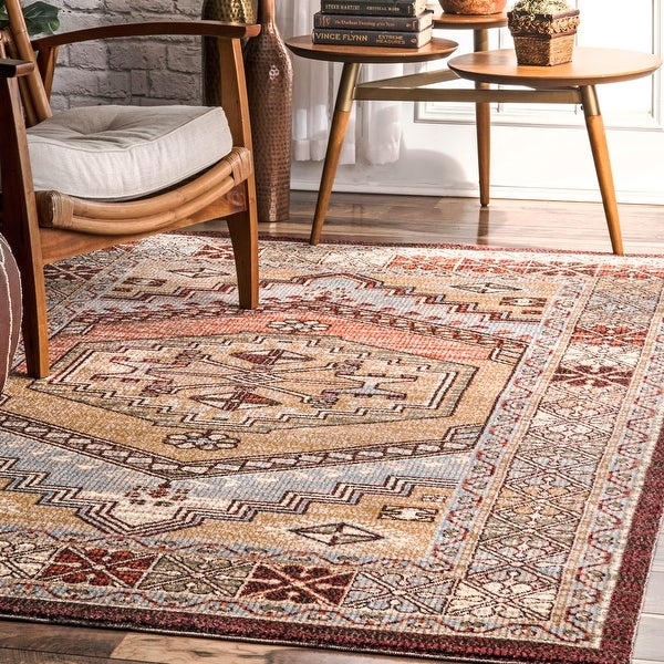 The Curated Nomad Bluxome Red Transitional Vintage Medallion Border Area Rug. Opens flyout.