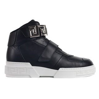 Versace Black Leather Panel Grecca Strap High Top Sneakers