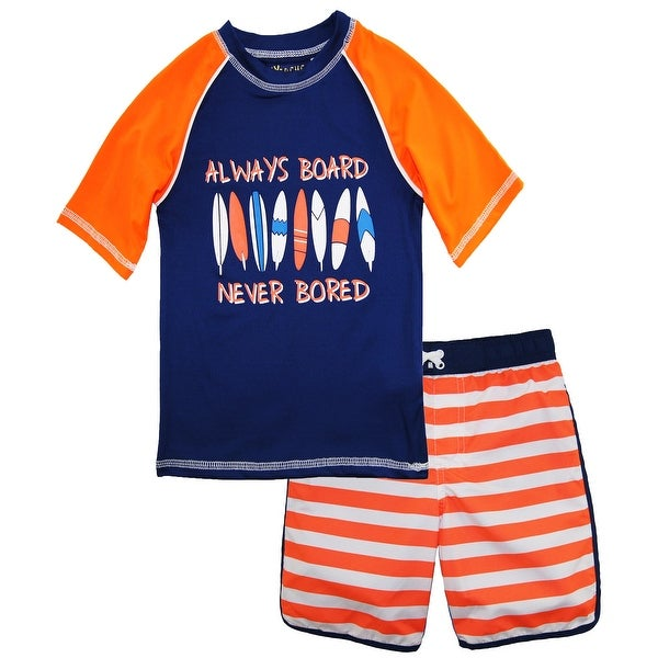 c50d242a5a iXtreme Toddler Boys Surf Board Short Sleeve Rash Guard Swim Trunk 2Pc Set