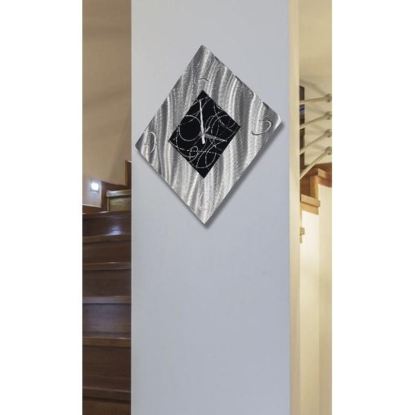 "Statements2000 Handmade Metal Wall Clock Art Abstract Black Silver Decor by Jon Allen - Allay Clock - 17"" x 17"""