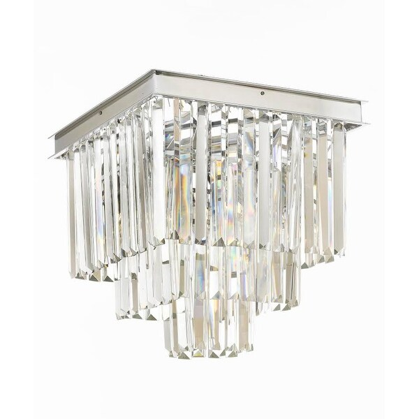 Retro Palladium Crystal Glass Fringe 3 Tier Flush Mount Chandelier Flushmount Silver Chrome
