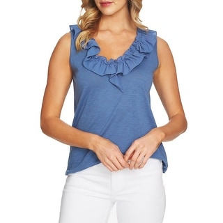 fb76b906b669f Shop CeCe Blue Women s Size Small S Ruffle Trim Scoop Neck Tank Cami Top -  Free Shipping On Orders Over  45 - Overstock - 27787736