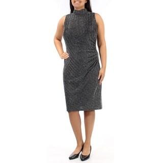 Womens Black Sleeveless Sheath Party Dress Size: 12