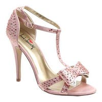 Luichiny Women's Piper Zoe T-Strap Sandal Blush Satin