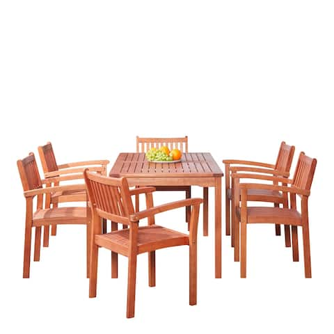 7-piece Eucalyptus Wood Stacked-chair Outdoor Dining Set