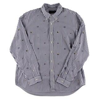 Ralph Lauren Mens Button-Down Shirt Striped Embroidered - XXL