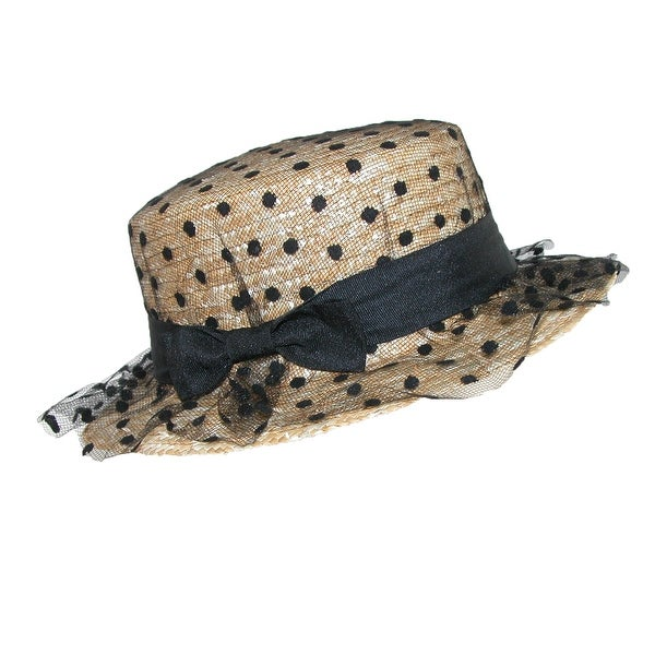 CTM® Women's Straw Boater Hat with Polka Dot Tulle