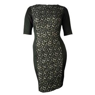 Sandra Darren Women's Lace Illusion Panel Dress - Black/nude