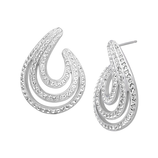 Chrystaluxe Swirl Earrings with Swarovski Crystals in Sterling Silver - White