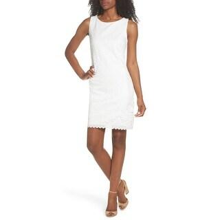 Eliza J Womens A-Line Dress White Size 6 Lace Sleeveless Jewel Neck