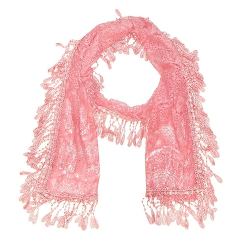 "Women's Sheer Lace Scarf with Fringe - Pink - 70"" x 11"""