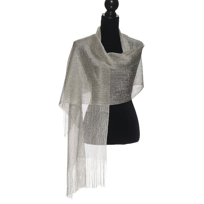 Modern Metallic Fishnet Party Shawl Fringe Lurex Scarf - Thumbnail 0