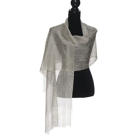 Womens Wedding Wrap Shawl Glitter Metallic Party Scarf with Fringe