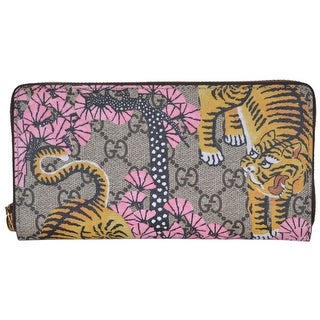 Gucci Women's 452355 GG Supreme Bengal Tiger Zip Around Wallet Clutch - 7.5 x 4 inches