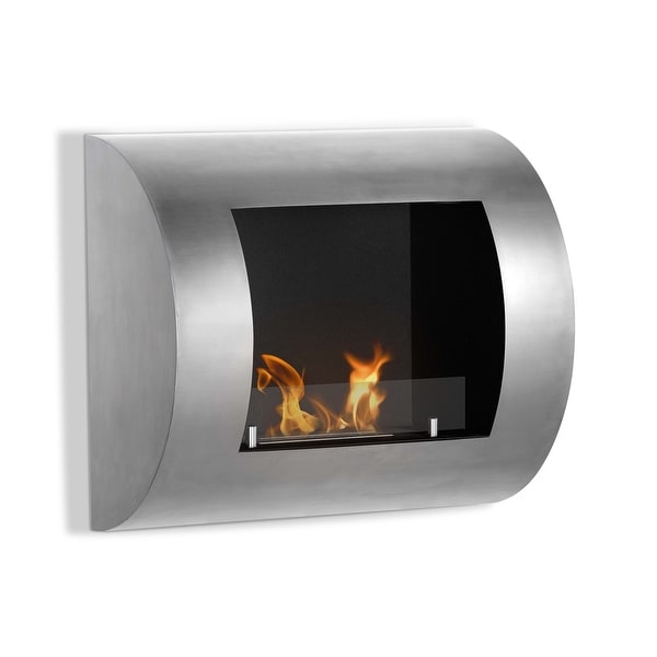 Ignis WMF-016G Luna Wall Mounted Ventless Ethanol Fireplace with Glass Barrier - black, stainless steel