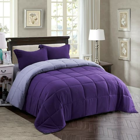 Down Alternative Comforter Set 3 PCS with Shams King Purple