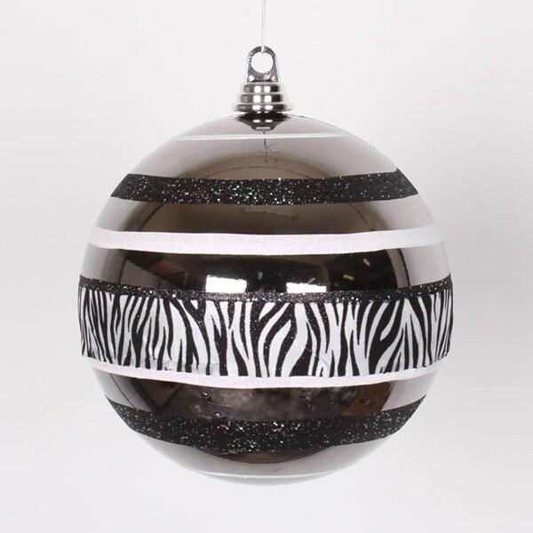 """Diva Safari Zebra Print & Stripes Black and White Christmas Ball Ornament 8"""" (200mm)"""