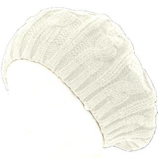 Cable Knit Winter Ski Beret Knit Tam Skull Cap - White