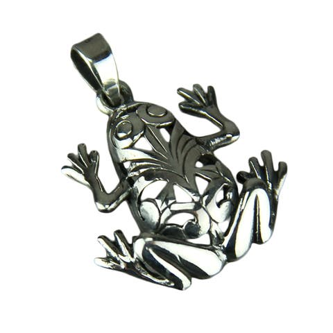 Sterling Silver Open Work Frog Pendant - 0.25 X 1 X 0.75 inches