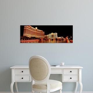 Easy Art Prints Panoramic Image 'Hotel lit up, Bellagio Resort And Casino, The Strip, Las Vegas, Nevada' Canvas Art