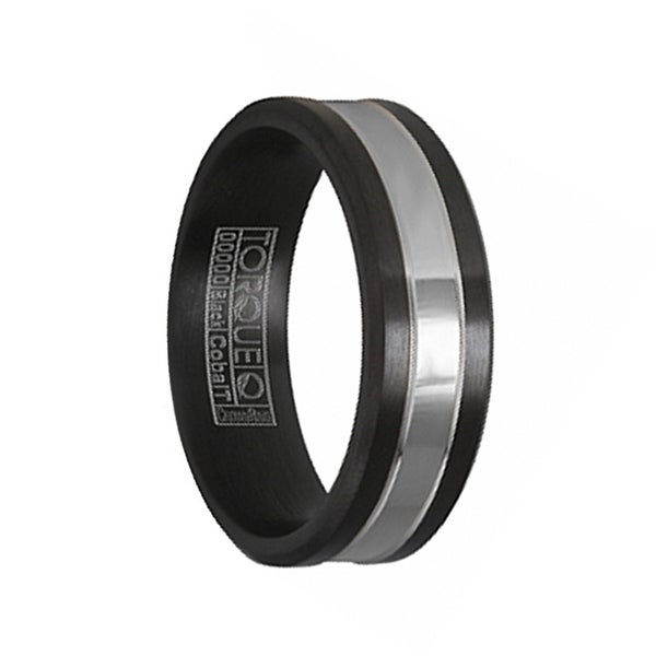 Flat Men's Torque Black Cobalt Wedding Band Polished Center Dual Grooves Design Beveled Edges by Crown Ring by Crown Ring - 7 mm