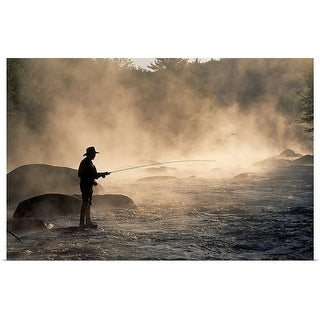 """Man fly fishing"" Poster Print"