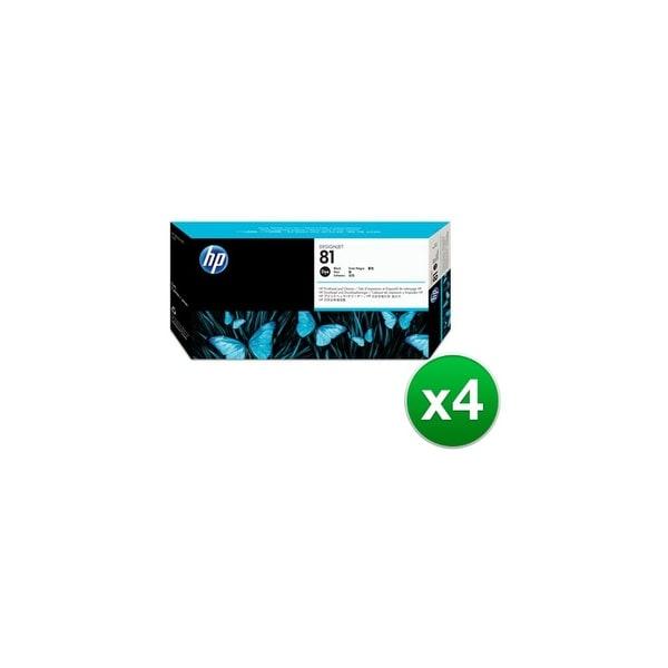 HP 81 Black DesignJet Dye Printhead & Printhead Cleaner (C4950A) (4-Pack)