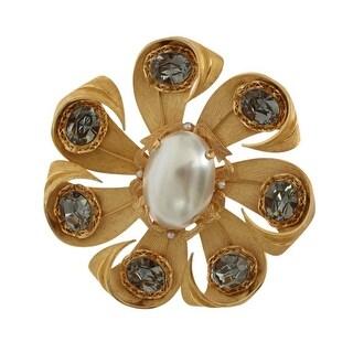 Dolce & Gabbana Gold Brass Gray Crystal Pearl SICILY Brooch