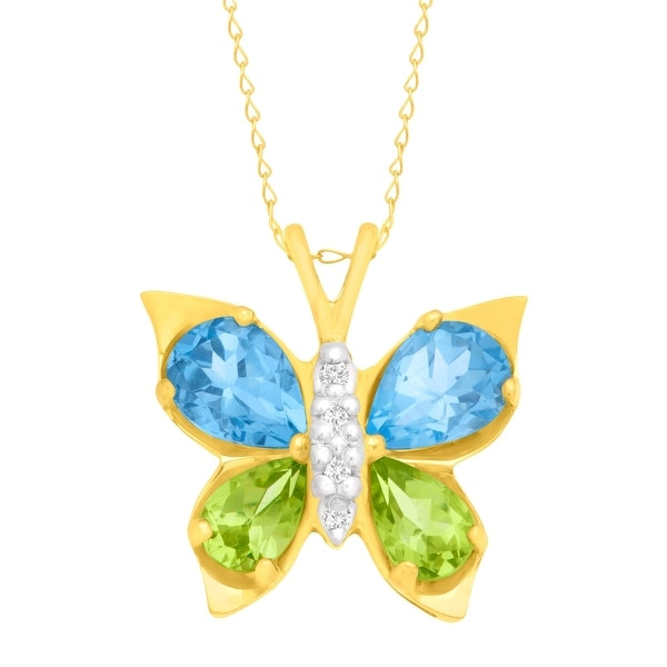 2 1/2 ct Topaz & Peridot Butterfly Pendant with Diamonds in 10K Gold - Blue