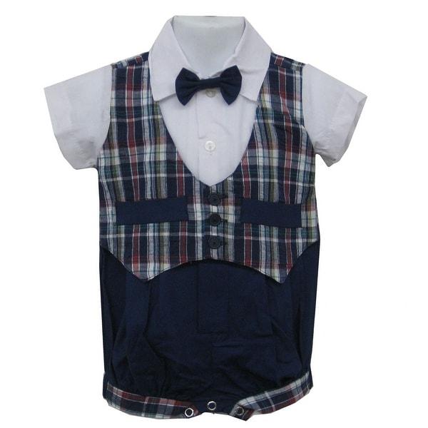 Baby Boys Blue Plaid Bowtie Short Sleeve One-piece Bodysuit 3-9M