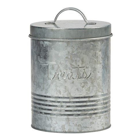 Amici Home Retro Treats Storage Canister With Lid for Pet Food 72 Oz - Galvanized Metal - Galvanized Metal
