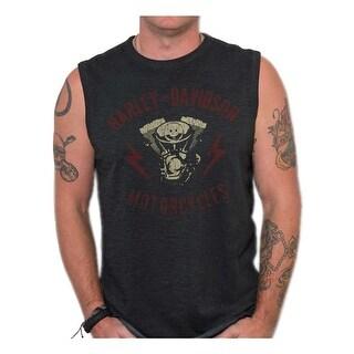 Harley-Davidson Men's Genuine Parts Premium Sleeveless Muscle Tank, Black Wash