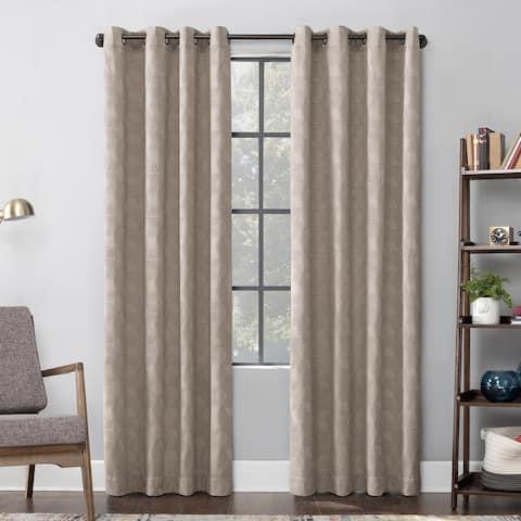 Scott Living Halsey Textured Geometric Cotton Blend Semi-Sheer Grommet Curtain Panel