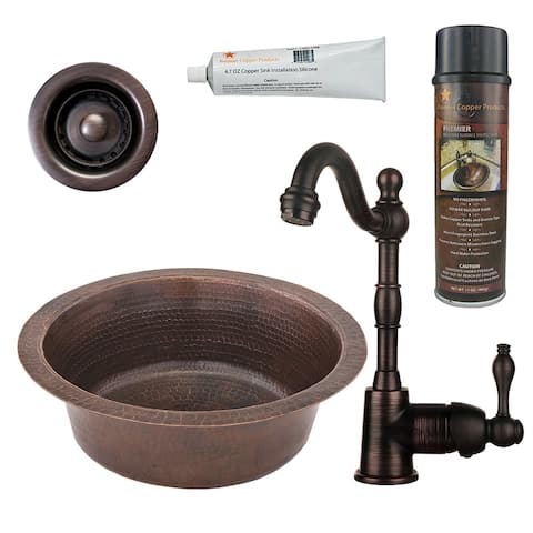 Premier Copper Products BSP4_BR14DB2-B Bar Sink, Faucet and Accessories Package