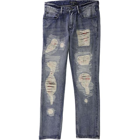 I-N-C Mens Plaid Patched Straight Leg Jeans