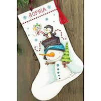 "Jolly Trio Stocking Counted Cross Stitch Kit-16"" Long 14 Count"