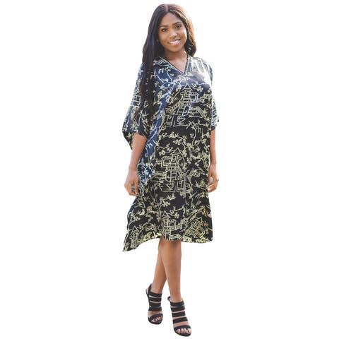 Metropolitan Women's Black and Gold Short Lounger - Printed V-Neck Caftan Dress - One Size